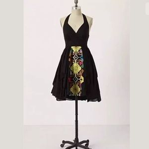 Anthropologie Embroidered Palenque Halter Dress